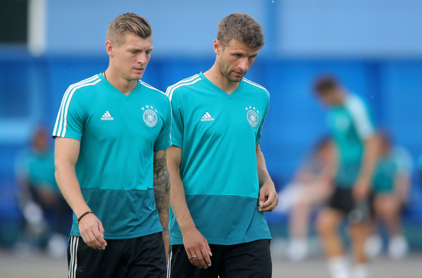 Germany Training And Press Conference [player,team sport,blue,sports,ball game,sportswear,team,sports training,sports equipment,tournament,toni kroos,thomas mueller,germany,kazan,russia,electron stadium,germany training and press conference,training session]