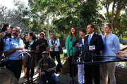 Opposition Leader Tony Abbott speaks to the media as his family, Frances, Margie and Bridget stand at his side at Bear Cottage in Sydney on September 1, 2013 in Sydney, Australia. Australian voters will head to the polls on September 7 to elect the 44th parliament.
