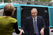 Alternative crop of image #682174374) Former British Prime Minister Tony Blair exits a television satellite broadcast van as he attends the European People's Party (EPP) Group Bureau meeting at Druids Glen on May 12, 2017 in Wicklow, Ireland. Brexit and negotiating objectives will top the agenda at the meeting alongside the unique circumstances regarding the hard border issue between northern and southern Ireland, the only physical border between the United Kingdom and Europe. Mr Blair has signaled a return to politics in light of the Brexit vote. The meeting also features European Commission Brexit chief negotiator Michel Barnier.