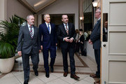 Former British Prime Minister Tony Blair (2nd L) and EPP Group Chairman Manfred Weber (3rd L)  arrive for the European People's Party Group Bureau meeting at Druids Glen on May 12, 2017 in Wicklow, Ireland. Brexit and negotiating objectives will top the agenda at the meeting alongside the unique circumstances regarding the hard border issue between northern and southern Ireland, the only physical border between the United Kingdom and Europe. Mr Blair has signaled a return to politics in light of the Brexit vote. The meeting also features European Commission Brexit chief negotiator Michel Barnier.