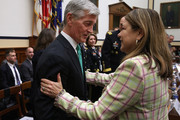House Armed Services Committee member Rep. Loretta Sanchez (D-CA) (R) greets Secretary of the Army John McHugh before a hearing about the FY2016 National Defense Authorization Budget Request in the Rayburn House Office Building on Capitol Hill March 17, 2015 in Washington, DC. All of the service chiefs and the military secretaries warned the committee that the budget cutting measure called 'sequestration' will continue to adversley affect military rediness and put American lives at risk at home and abroad.