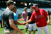 (L-R) Brett Connolly, Emerson Etem, Cam Fowler, Tyler Seguin and Los Angeles Angels of Anahiem batting coach Mickey Hatcher attend the Top NHL Draft Prospects At Batting Practice at Angel Stadium of Anaheim on June 23, 2010 in Anaheim, California.