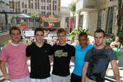 Cam Fowler, Tyler Seguin, Taylor Hall, Emerson Etem and Brett Connolly attend the Top NHL Draft Prospects At The Hollywood Walk of Fame on June 23, 2010 in Hollywood, California.