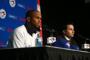 Jose Reyes #7 of the Toronto Blue Jays is introduced at a press conference as general manager Alex Anthopoulos looks on at Rogers Centre on January 17, 2013 in Toronto, Ontario.