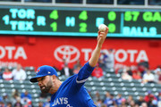 Jaime Garcia #57 of the Toronto Blue Jays throws in the first inning against the Texas Rangers at Globe Life Park in Arlington on April 8, 2018 in Arlington, Texas.