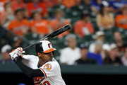 Adam Jones #10 of the Baltimore Orioles bats against the Toronto Blue Jays at Oriole Park at Camden Yards on September 19, 2018 in Baltimore, Maryland.