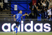 Marco Di Vaio #9 of Montreal Impact celebrates his first half goal during the MLS game against the Toronto FC at the Olympic Stadium on March 16, 2013 in Montreal, Quebec, Canada.