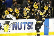 Marcus Johansson #90 of the Boston Bruins celebrates with the bench after scoring in the first period of Game Seven of the Eastern Conference First Round during the 2019 NHL Stanley Cup Playoffs against the Toronto Maple Leafs at TD Garden on April 23, 2019 in Boston, Massachusetts.