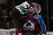 Goaltender Semyon Varlamov #1 of the Colorado Avalanche takes a drink during a timeout against the Toronto Maple Leafs at the Pepsi Center on December 29, 2017 in Denver, Colorado. The Avalanche defeated the Maple Leafs 4-3 in overtime.