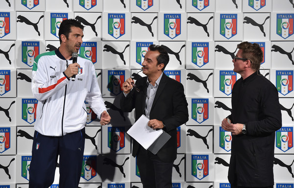 Italy Unveils New Home Kit [event,stage equipment,technology,team,home kit,gianluigi buffon,nicola savino,torsten hochstetter,italy unveils new home kit,stage,italy,florence,puma,launch]