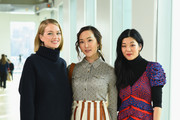 (L-R) Lindsey Ellingson, Chriselle Lim, and Michelle Lee attend the Tory Burch Fall Winter 2019 Fashion Show at Pier 17 on February 10, 2019 in New York City.