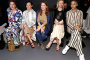 (L-R) Francesca DiMattio, Lucy Liu, Julianne Moore, Mia Goth, and Adwoa Aboah attend the Tory Burch Fall Winter 2020 Fashion Show at Sotheby's on February 09, 2020 in New York City.