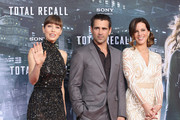 """Actress Jessica Biel, actor Colin Farrell and actress Kate Beckinsale attend the Germany premiere of """"Total Recall"""" at Sony Center on August 13, 2012 in Berlin, Germany."""
