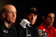 Levi Leipheimer speaks as teammate Lance Armstrong of Team Radio Shack listens with George Hincapie of BMC Racing during a during a press conference prior to the 2010 Tour of California at the Sacramento Convention Center on May 14, 2010 in Sacramento, California.
