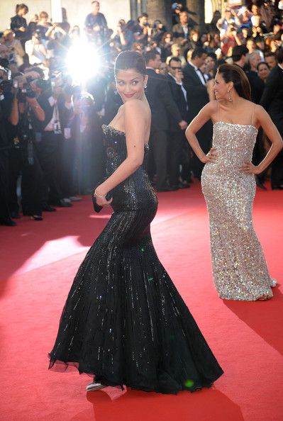 Actress Eva Longoria Parker (R) and Aishwarya Rai Bachchan attend the 'On Tour' Premiere at the Palais des Festivals during the 63rd Annual Cannes Film Festival on May 13, 2010 in Cannes, France.