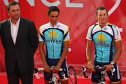 Astana Team members (L to R) Johan Bruyneel, Alberto Contador and Lance Armstrong attend the Official Team Presentation for 2009 Tour de France on July 2, 2009 in Monaco, Monaco.