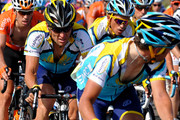 Lance Armstrong (R) of USA and team Astana on his way flanked by his teammate Alberto Contador (L) of Spain during stage three of the 2009 Tour de France from Marseille to La Grande Motte on July 6, 2009 in La Grande Motte, France. The stage was won by Mark Cavendish of Great Britain and Team Columbia.
