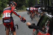 George Hincapie riding for BMC Racing deposits clothing in the team car during stage one of the Amgen Tour of California on May 13, 2012 in Santa Rosa, California.