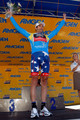 George Hincapie of BMC Racing poses for a photo on the podium after winning the Most Courageous Rider jersey during stage six of the Tour of California on May 21, 2010 in Big Bear Lake, California.