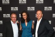 (L-R) Tourism New Zealand CEO Kevin Bowler, New Zealand tourism ambassador Megan Gale, and Tourism New Zealand general manager; Australia, Tony Saunders pose during a New Zealand Tourism press conference at Four Seasons Hotel on February 10, 2016 in Sydney, Australia.