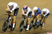 The Great Britain team competes in the bronze medal final of the Mens Team Pursuit during the track cycling on Day Two of the European Championships Glasgow 2018 at Sir Chris Hoy Velodrome on August 3, 2018 in Glasgow, Scotland.