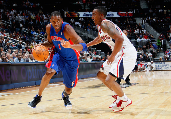 Tracy McGrady Tracy McGrady #1 of the Detroit Pistons drives against Jeff Teague #0 of the Atlanta Hawks at Philips Arena on November 3, 2010 in Atlanta, Georgia.  NOTE TO USER: User expressly acknowledges and agrees that, by downloading and/or using this Photograph, User is consenting to the terms and conditions of the Getty Images License Agreement.