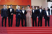"""Pierfrancesco Favino, Marco Bellocchio, Luigi Lo Cascio, Maria Fernanda Candido, Fausto Russo Alesi and guests attend the screening of """"The Traitor"""" during the 72nd annual Cannes Film Festival on May 23, 2019 in Cannes, France."""