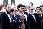 """(L-R) Fausto Russo Alesi, Luigi Lo Cascio, Marco Bellocchio, Maria Fernanda Candido, Pierfrancesco Favino and guests attends the screening of """"The Traitor"""" during the 72nd annual Cannes Film Festival on May 23, 2019 in Cannes, France."""