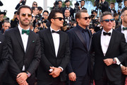 """Jean-Eric Vergne, Orlando Bloom, Leonardo DiCaprio and Alejandro Agag attend the screening of """"The Traitor"""" during the 72nd annual Cannes Film Festival on May 23, 2019 in Cannes, France."""