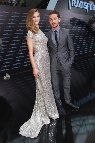 "Actress Rosie Huntington-Whiteley and actor Shia LaBeouf attend the ""Transformers 3"" European premiere on June 25, 2011 in Berlin, Germany."