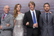 "(From L to R) Actor John Malkovich, actress Rosie Huntington-Whiteley, director Michael Bay and actor Shia LaBeouf attend the ""Transformers 3"" press conference at the Ritz-Carlton Hotel on June 25, 2011 in Berlin, Germany."