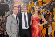 "(L-R) Shia LaBeouf, Michael Bay and Rosie Huntington-Whiteley attend the New York premiere of ""Transformers: Dark Side Of The Moon"" in Times Square on June 28, 2011 in New York City."
