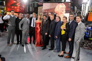 "Producers and cast including Lorenzo di Bonaventura, Tyrese Gibson, Michael Bay, Rosie Huntington-Whiteley, Lester Speight, Alan Tudyk, Kevin Dunn, Brian Glodner and Shia LaBeouf the ""Transformers: Dark Side Of The Moon"" premiere in Times Square on June 28, 2011 in New York City."