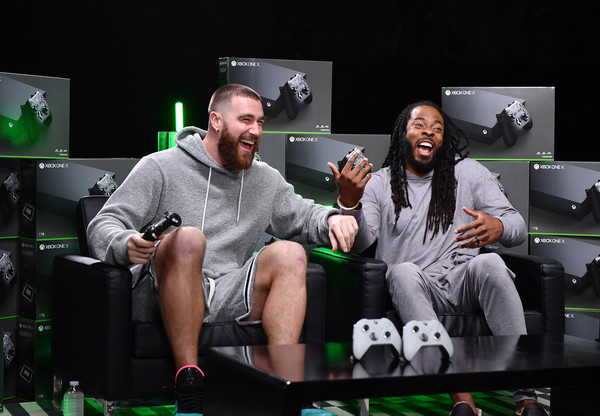 Xbox Game Before the Game – Kelce vs Sherman [green,event,fun,sitting,plant,competition event,leisure,gadget,performance,gamer,xbox,richard sherman,travis kelce,game,miami,florida,m3 studios,xbox sessions,travis kelce,richard sherman,photography,session,livingly media,xbox one,contemporary art gallery,application software,image]