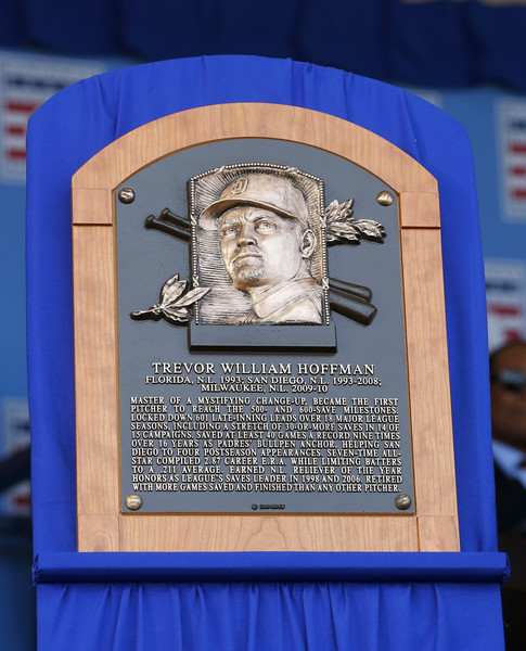 National Baseball Hall Of Fame Induction Ceremony [memorial,commemorative plaque,relief,stele,art,statue,trophy,trevor hoffman,plaque,cooperstown,new york,national baseball hall of fame induction ceremony,baseball hall of fame,clark sports center,induction ceremony]
