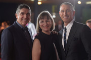 (L-R) Co-Founders of The Trevor Project, James Lecesne and Peggy Rajski and director Adam Shankman attend TrevorLIVE LA 2015 at Hollywood Palladium on December 6, 2015 in Los Angeles, California.