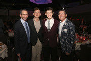 Alex Sharp (2nd R) and James Lecesne (R) and guests attend TrevorLIVE New York honoring Sir Ian McKellen, Representative Ryan Fecteau and Johnson & Johnson for the Trevor Project presented by Wells Fargo and Kevin Potter on June 15, 2015 in New York City.