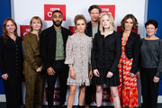 "(L-R) Producer Rebecca Ferguson, writer Amanda Coe, Anthony Welsh, Sophie Cookson, James Norton, Ellie Bamber, Emilia Fox and exec. producer Kate Triggs attend the UK premiere of ""The Trial Of Christine Keeler"" at Content London on December 04, 2019 in London, England."