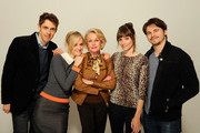 (L-R) Director Jay Gammill, actress Jess Weixler, actress Tippi Hedren, actress Jocelin Donahue and actor Jason Ritter of the film 'Free Samples' visit the Tribeca Film Festival 2012 portrait studio at the Cadillac Tribeca Press Lounge on April 21, 2012 in New York City.