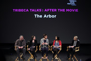 """(L-R) Producer Michael Morris, producer Tracy O'Riordan, director Clio Barnard, actress Manjinder Virk and Director of Programming for Tribeca Film Festival David Qwok speak at Tribeca Talks: """"The Arbor"""" during the 2010 Tribeca Film Festival at the School of Visual Arts Theater on April 28, 2010 in New York City."""