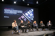 (L-R) Dan Krauss, Morgan Spurlock, Shola Lynch, Kristi Jacobson and Norman Pearlstine attend the Tribeca Talks: The Business of Entertainment: Truth, Persuasion And Bias In Documentaries event at the 2013 Tribeca Film Festival on April 22, 2013 in New York City.
