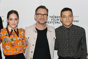 Carly Chaikin, Christian Slater and Rami Malek attends Tribeca Talks - A Farewell To Mr. Robot - 2019 Tribeca Film Festival at Spring Studio on April 28, 2019 in New York City.