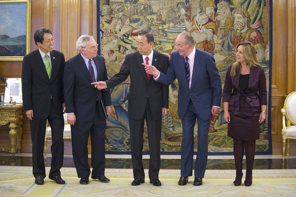 King Juan Carlos receives Ban Ki Moon at Zarzuela Palace
