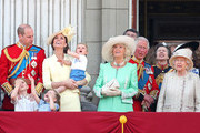 Prince Louis, Prince George, Prince William, Duke of Cambridge, Princess Charlotte, Catherine, Duchess of Cambridge, Camilla, Duchess of Cornwall, Prince Charles, Prince of Wales, Princess Anne, Princess Royal and Queen Elizabeth II during Trooping The Colour, the Queen's annual birthday parade, on June 08, 2019 in London, England.