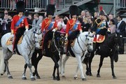 (L-R) Prince William, Duke of Cambridge, Prince Charles, Prince of Wales, Prince Edward, Duke of Kent and Princess Anne, Princess Royal attend the Trooping Of The Colour at Horse Guards Parade on June 16, 2012 in London, England.