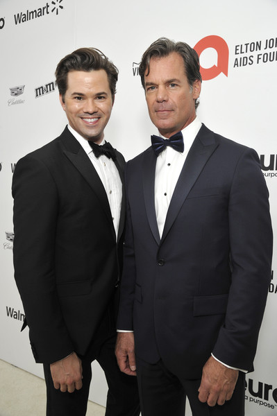 Neuro Brands Presenting Sponsor At The Elton John AIDS Foundation's Academy Awards Viewing Party [suit,formal wear,tuxedo,white-collar worker,premiere,tie,event,bow tie,smile,carpet,tuc watkins,andrew rannells,l-r,west hollywood,california,sponsor,neuro brands,elton john aids foundation,academy awards viewing party,elton john,tuc watkins,elton john aids foundation,celebrity,elton john aids foundation academy award party,academy awards,oscar party,just jared,photograph]