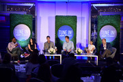 """(L-R) Comedian Anthony Anderson, writer Erin Levy, TV personality Jeff Lewis, novelist Elwood Reid, TV personality Nicole Richie and comedian Paul Scheer speak onstage at the """"TV's Creative Trailblazers"""" panel during Tune In! Variety's TV Summit at Intercontinental Century City on August 6, 2014 in Century City, California."""
