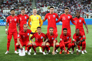 England team lines up prior to  the 2018 FIFA World Cup Russia group G match between Tunisia and England at Volgograd Arena on June 18, 2018 in Volgograd, Russia.