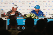 Lee Westwood of England and Sergio Garcia of Spain talk to the media during a press conference ahead of the Turkish Airlines Open at The Montgomerie Maxx Royal on November 12, 2014 in Antalya, Turkey. on November 12, 2014 in Antalya, Turkey.
