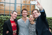 """(L-R)  Josh Boone, Ansel Elgort, Shailene Woodley and John Green attend the Twentieth Century Fox Home Entertainment's """"The Fault In Our Stars"""" Reunion And Bench Dedication Ceremony at Fox Studio Lot on November 20, 2014 in Century City, California."""